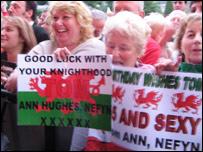 Tom Jones fans in Ynysangharad Park, Pontypridd