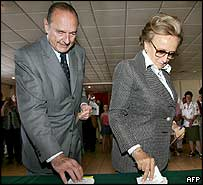 French President Jacques Chirac and his wife Bernadette take their ballot papers