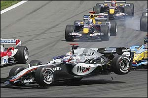 Montoya's McLaren collides with Webber's Williams