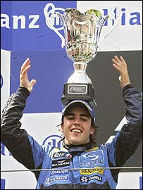 Fernando Alonso celebrates an unexpected victory at the Nurburgring