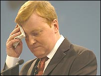 Charles Kennedy mops his brow at the Liberal Democrats Conference in 2005