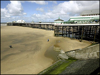Blackpool seafront, where the two boys were swept away