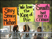 Michael Jackson's supporters outside court