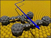 "Impression of a ""nanocar"" made from a single molecule,  three to four nanometres across, developed by scientists in Texas"