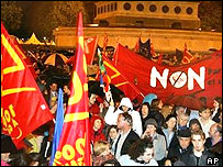 Supporters of the &quot;No&quot; vote celebrating in Paris