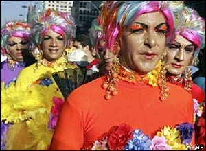 Three men dressed as women, Sao Paulo Gay Parade