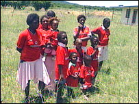 South African children wearing their new shirts