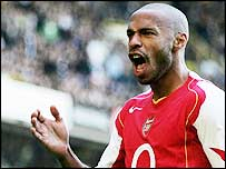 Thierry Henry celebrates one of his 25 league goals