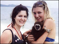 Katherine Horton (left) and friend Ruth Adams on Lamai Beach, Koh Samui on New Year's Day