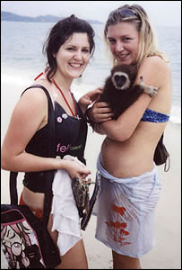 Katherine Horton and Ruth Adams (right) on Lamai Beach, Koh Samui on New Year's Day