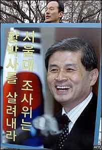 Seguidor del científico Hwang Woo-suk con un afiche del académico.
