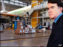 Peter Mandelson in the Airbus plant
