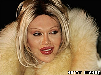 Pete Burns wearing the monkey fur coat