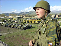 A soldier patrols at the Russian military base near the southern town of Akhalkalaki in Georgia