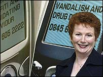 Home Office minister Hazel Blears launching a anti-social behaviour action line
