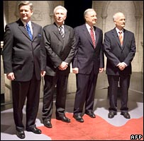 Canadian party leaders: Conservative leader Stephen Harper, Gilles Duceppe of the Bloc Quebecois, Paul Martin of Liberal Party and Jack Layton, of New Democratic Party