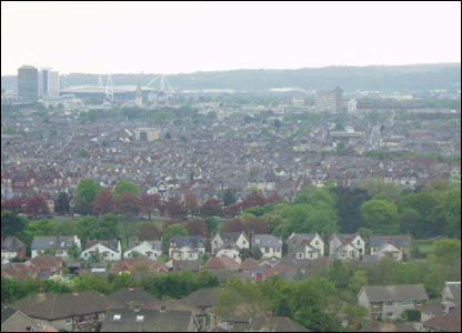 Paul Bradley's view across Cardiff from his university hall of residence