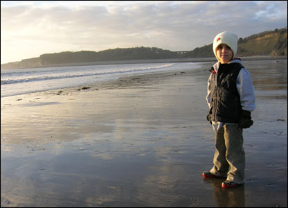 Matt Cox's son Llyr at the Knap in Barry as the sun went down