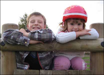 Rachel Jones' two children Gabe and Marla taken at Alyn Waters Country Park in Gwersyllt