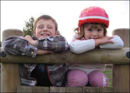 Rachel Jones' two children Gabe and Marla taken at Alyn Waters Country Park in Gwersyllt
