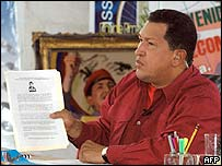 Venezuela's President Hugo Chavez appealing for the extradition of Cuban bombing suspect Luis Posada Carriles