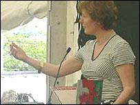 Gwyneth Lewis reading her poetry at Hay