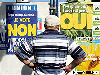 A French man looks at EU constitution posters