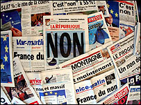 French newspapers announcing no result