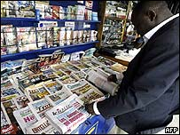 Newspaper reader in Africa