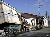 Damaged houses in the Lower Ninth Ward