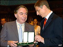 Lord Lloyd-Webber with Hungarian Prime Minister Ferenc Gyurcsany
