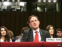 Samuel Alito being questioned by a Senate committee