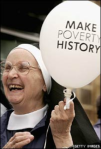 Nun with Make Poverty History balloon