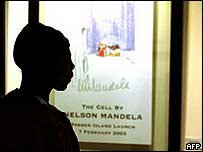 Man looking at Nelson Mandela painting