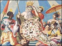 Detail from cover of Joannes van Keulen Zee Atlas, Amsterdam, 1682