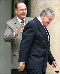 French President Jacques Chirac with departing Prime Minister Jean-Pierre Rafarrin