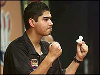 Jelle Klaasen celebrates victory over Mervyn King