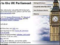 Parliament's website - screen grab