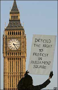 Woman protesting outside Parliament