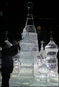 St Basil's Cathedral ice sculpture - credit Press Association