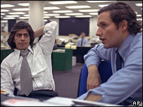 Carl Bernstein and Bob Woodward of the Washington Post in 1973