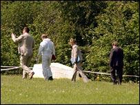 Police officers at murder scene