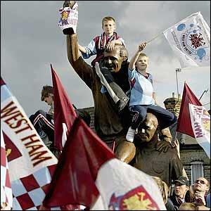 Young West Ham fans outside Upton Park