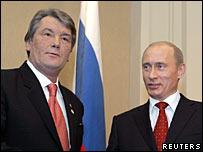 Ukrainian President Viktor Yushchenko and Russian President Vladimir Putin