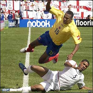 Chelsea's young defender Glen Johnson does his best to preserve England's lead
