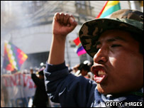 A man shakes his fist during a protest at La Paz, Bolivia