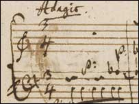 Close-up of Mozart's musical diary, British Library