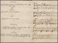 Image of Mozart's musical diary, British Library