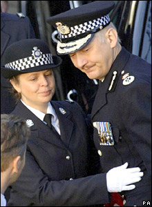 Pc Teresa Milburn with Chief Constable Colin Cramphorn