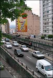 Traffic in Sao Paulo city centre